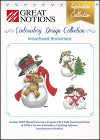 Great Notions Embroidery Designs - Morehead Snowmen