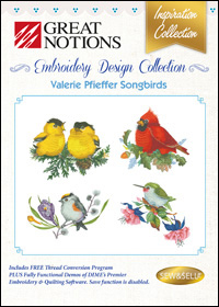 Great Notions Embroidery Designs - Valerie Pfieffer Songbirds