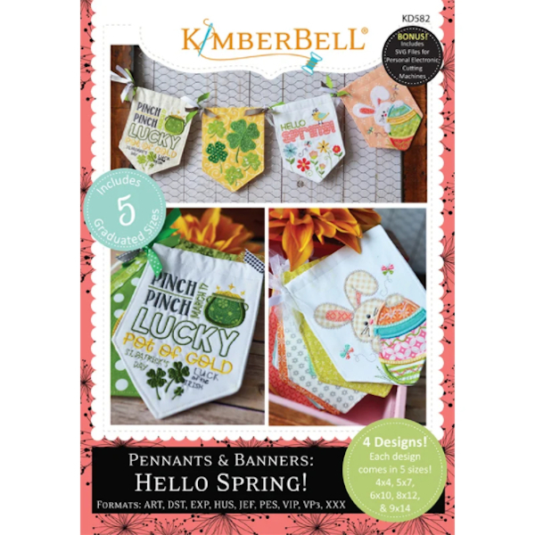KIMBERBELL DESIGNS - PENNANTS & BANNERS: HELLO SPRING