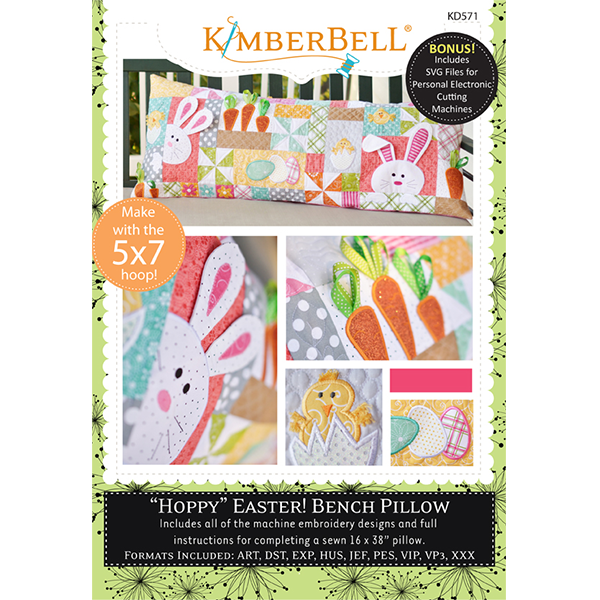 Kimberbell Designs - Bench Pillow, Hoppy Easter, Machine Embroidery